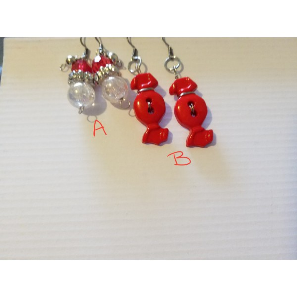 listing for one air either a santa clause or candy button earrings