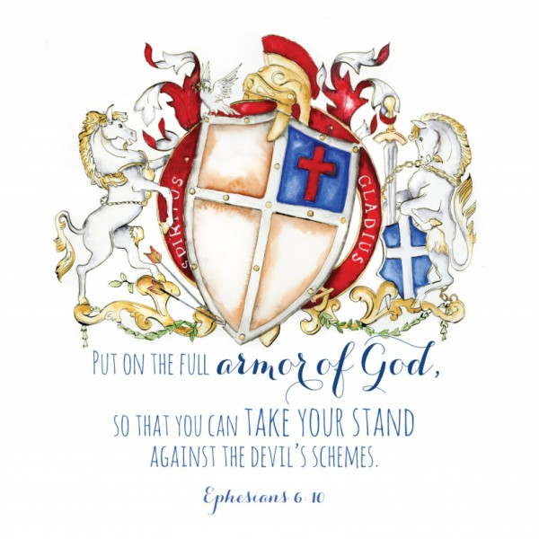 Ephesians 6:10 Christian Bible Verse art - watercolor coat of arms based on the Armor of God by Jamie Hansen