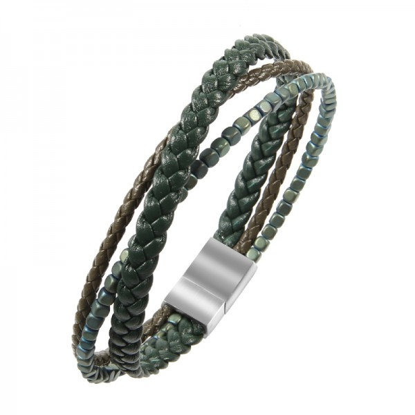 Mens Leather & Beads Bracelet – Handmade Braided Cuff Bracelet with Size Adjustable Engraved Magnetic Clasp Free Jewelry Gift Boxed