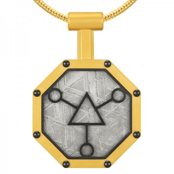Men Stainless Steel Gibeon Meteorite Blessing Pendant Golden Necklace with Free Chain Ideal Gift for Family & Friends