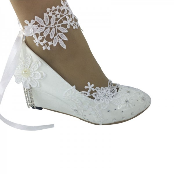 white  lace anklet flower Wedding Shoes HEEL girls princess Shoes 35-40