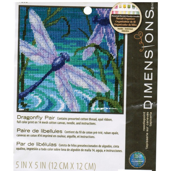 Dimensions Mini Needlepoint Kit Dragonfly Pair Quick & EasyStitching Hobby