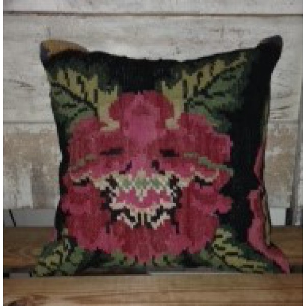 Turkish kilim pillow with flower