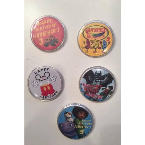 Qty 12 - Personalized, Photo, Party Favor Buttons, 2.25 inchPinback Button Badge