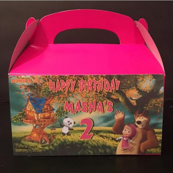 Qty 4 Masha and the Bear Party Candy Favor Goody Boxes