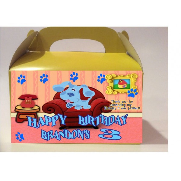 Qty 4 Blues Clues, Birthday Celebration, Personalized Goody Boxes