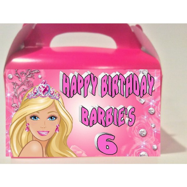 Qty 4 Barbie, Goody Boxes, Candy Bags, BirthdayCelebration,Personalization.