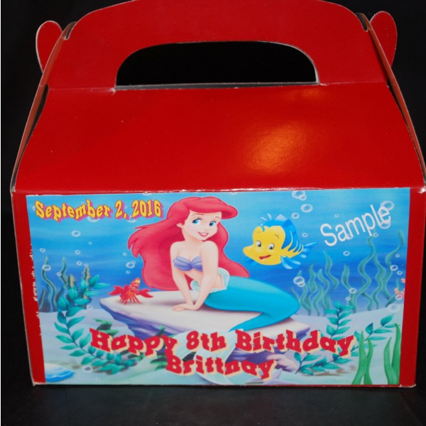 Qty 4 The Little Mermaid Party Favor Candy Goody Boxes
