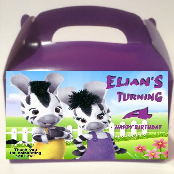 Qty 4 Zou Disney Junior Zebra Birthday Goody favor Boxes