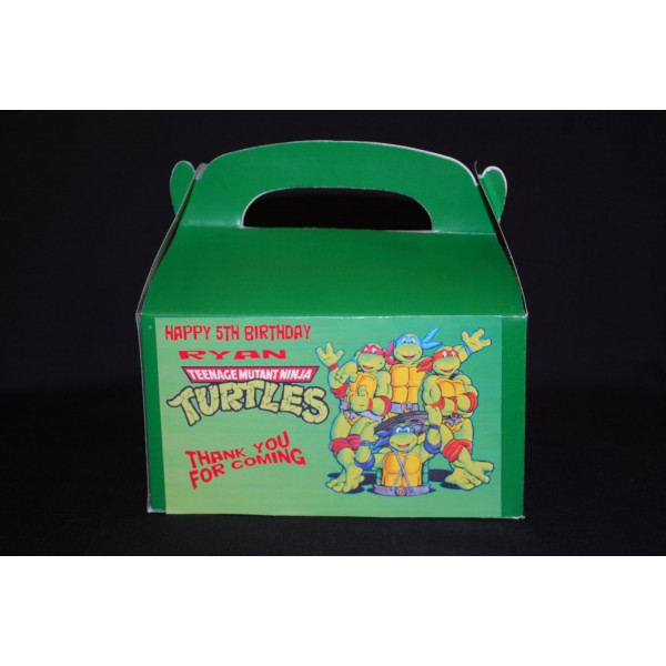 Qty 4 Ninja Turtles Treat Boxes, Favor Box, Personalized, CandyGoody Box