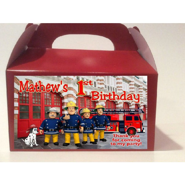 Qty 4 Fireman Sam Favor Goody Boxes
