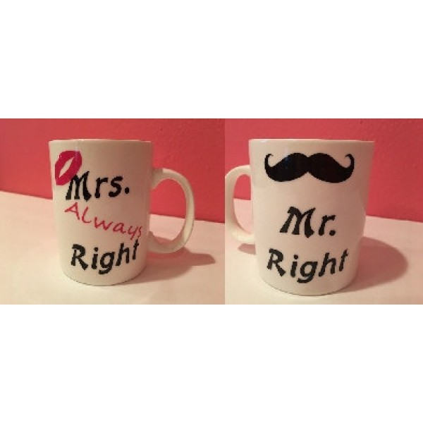 Mugs, Coffee, Tea, His & Hers, Ceramic, Vinyl Phrase