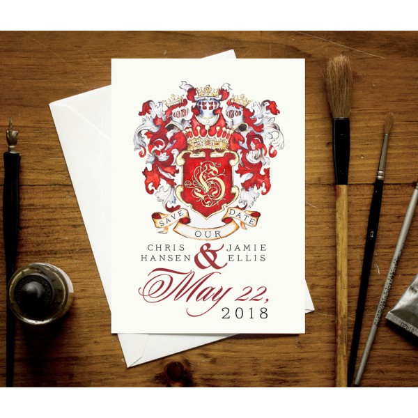 Custom announcement card / Coat of arms notecard by Jamie Hansen / custom family crest card for a regal wedding
