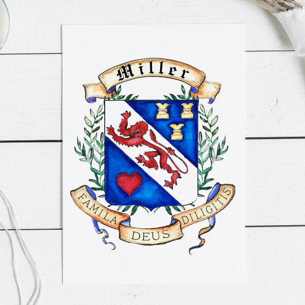 Family Coat of Arms or Custom Family Crest - Create a coat of arms- Digital family crest and art print by Jamie Hansen