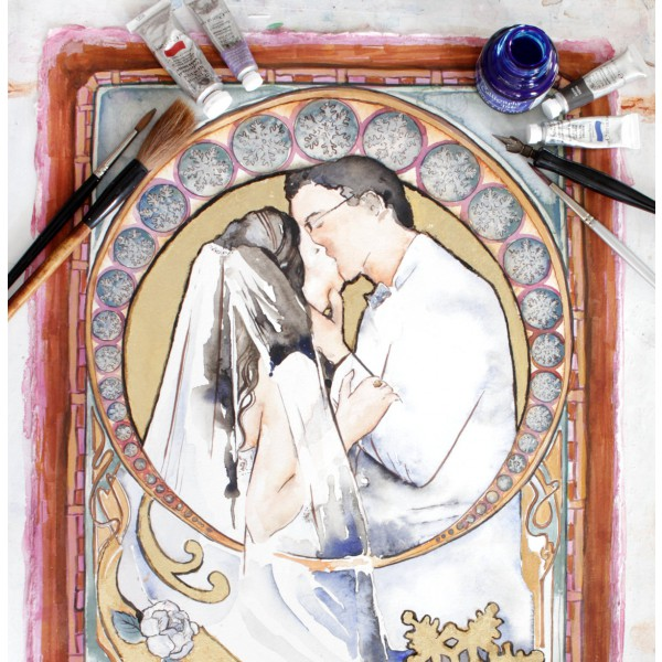 Personalized Art Nouveau Wedding Portrait / custom watercolor art with gold leaf by Jamie Hansen