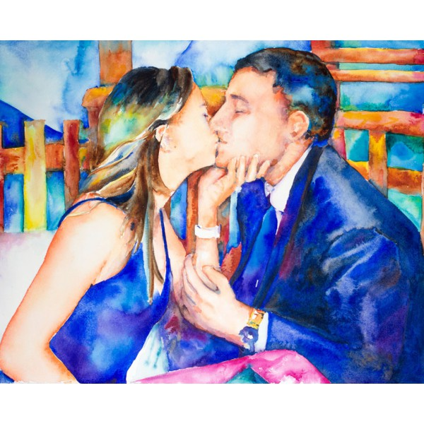 Original watercolor painting from photo - 22 x 30 sofa size artwork by Jamie Hansen