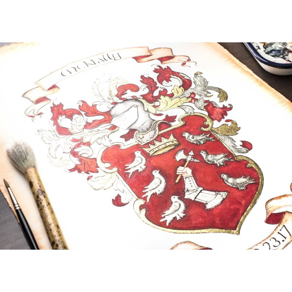 Hand painted Family Crest - Large 16 x 20 Custom Coat of Arms watercolor painting by Jamie Hansen