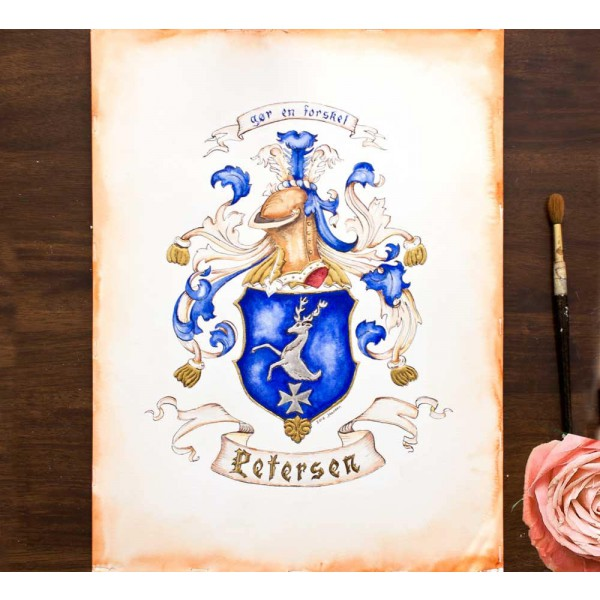 Custom Family Crest - Hand Drawn Heraldry from existing illustration by Jamie Hansen