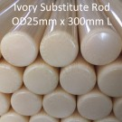 ARVORIN - Imitation Resin Based Ivory Substitute Rod Bar Block Scale Blank Material - OD25mm x 300mm