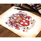 Hand painted family crest for an anniversary gift - anniversary celebration coat of arms by Jamie Hansen