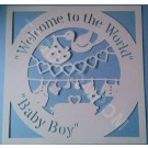 Welcome to the World Baby Boy Birth Announcement Papercut, SVG Cutting File Frame,Design Template, Papercutting, Card Making,Digital Upload