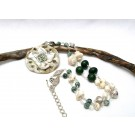 Earth tones long Boho style ceramic flower pendant necklace withbuffalo turquoise (howlite), green jade and moss agate.