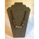 Silver and Red Beaded Necklace