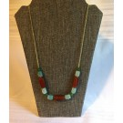 Green Stone/Brown Wood Necklace