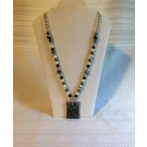 Black/White Beaded Necklace with Pendant
