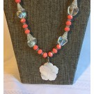 Coral/Mother of Pearl Hibiscus Necklace