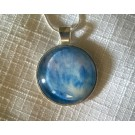 Blue, White with Lavender Acrylic Pour Glass Dome Pendant Necklace 925 Sterling Snake Chain Gift Under 15