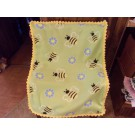 Bees Baby Fleece Blanket with Crochet Edging Crib Cover Car Seat Cover Toddler Blanket