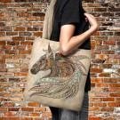 Tote Bag- Boho Chic Horse Head-Over Sized 18