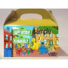 Qty 4 Sesame Street Birthday Goody Boxes, Party Personalized