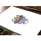 Family Crest or Coat of Arms Miniature Painting, Heraldry Art with Gold leaf or Silver Metal Leaf by Jamie Hansen
