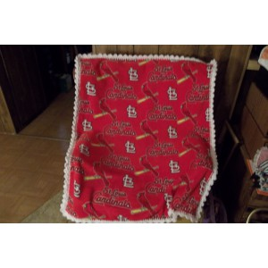 STL Cardinals Baseball Red Baby Fleece Blanket with Crochet Edging Crib Cover Car Seat Cover