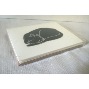 "Sleeping Cat ""Black Cat Naptime"" by J. Renner Boxed Set of 5 Black and White Blank Notecards w/Envelopes"
