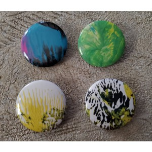Handmade Wearable Art Blue, Pink, Green, Yellow, Black Acrylic Pour Pinback Buttons 25mm 1 inch Set of 4