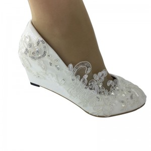 35-40 white lace  wedding shoes bridal Women shoes princess footwear Wedges High heels shoes