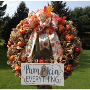 Everything Pumpkin Burlap Ruffle Wreath