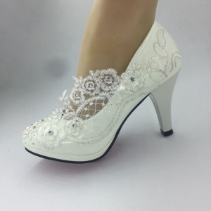 women white lace    Wedding HEEL shoes Bridal Bridesmaid shoes size35-41