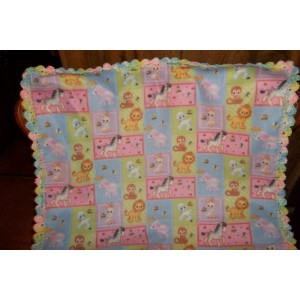 Baby Animals Baby Fleece Blanket with Crochet Edging Crib Blanket Car Seat Cover