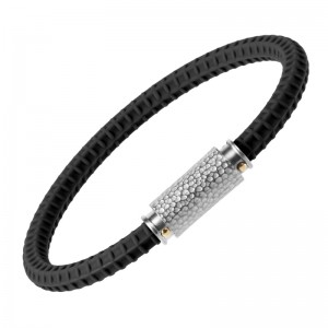 Casisto.J Bracelet for Men - Silicone Sport Wristband with Stainless Steel Clasp Engrave Bracelets Punk Style with Gift Box