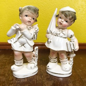 2pc Vintage Dick & Jane Style Soap Stone Figurines