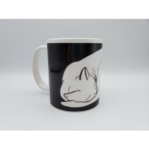 White Cat Naptime Sleeping Cat Ceramic Coffee Mug Original Design