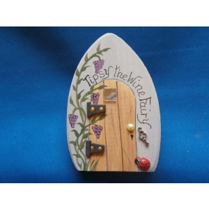 Fairy Door, Wooden fairy door, Wine fairy, kitchen decor, handpainted fairy door