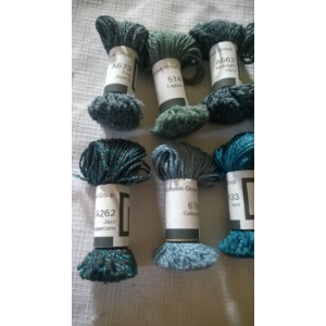Mohawk Group Wool Yarn Sample Size (14) Mini-Skeins Natural Tones Greens and Blues Lot #12
