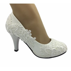 Handmade Women   White  lace   Wedding Shoes Bridal Heels Pumps 35-41