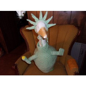 Lady Liberty Geese Goose Crochet Outfit Garden Statue Clothes Outdoor Decor