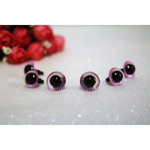 14mm Transparent Crystal Pink Plush Toy Animal Eyes Safety Owl Eyes - 3 pairs / 6 pcs